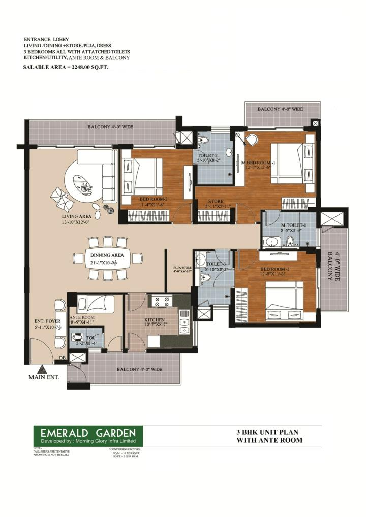 3 bhk with ante room in kanpur emerald garden