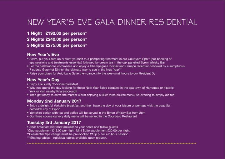 NEW YEAR'S EVE GALA DINNER RESIDENTIAL