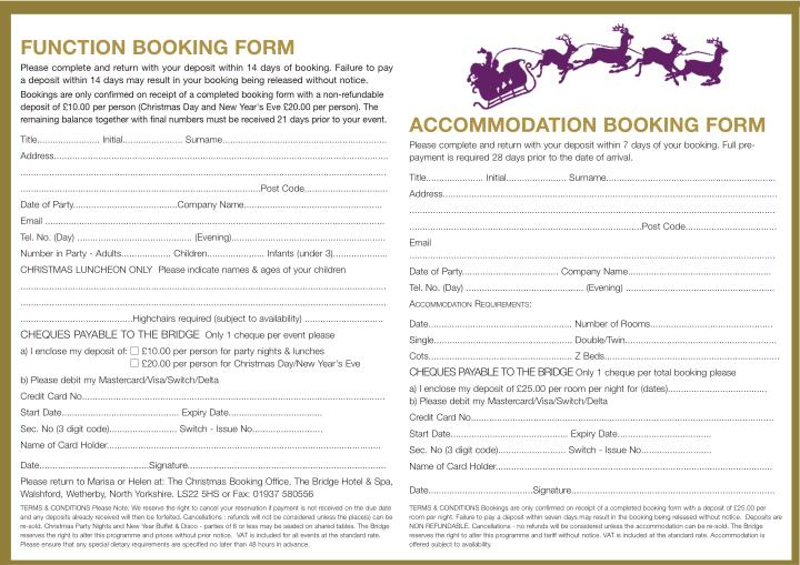 FUNCTION BOOKING FORM