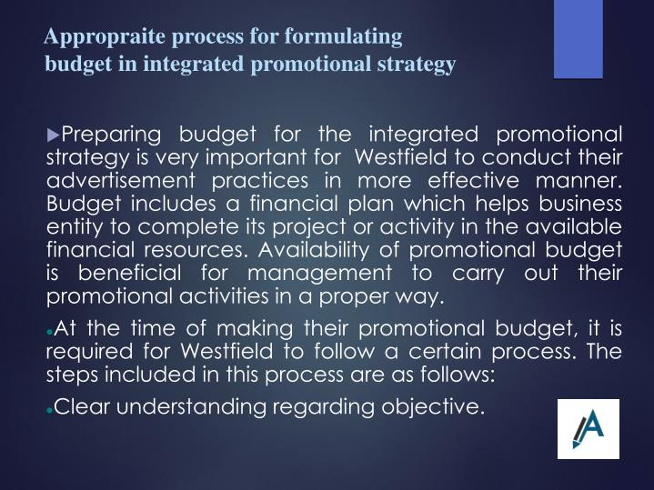 Appropraite process for formulating