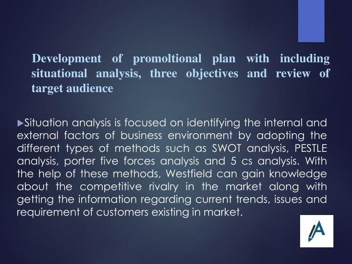 Development of promoltional plan with including situational analysis, three objectives and review of target audience