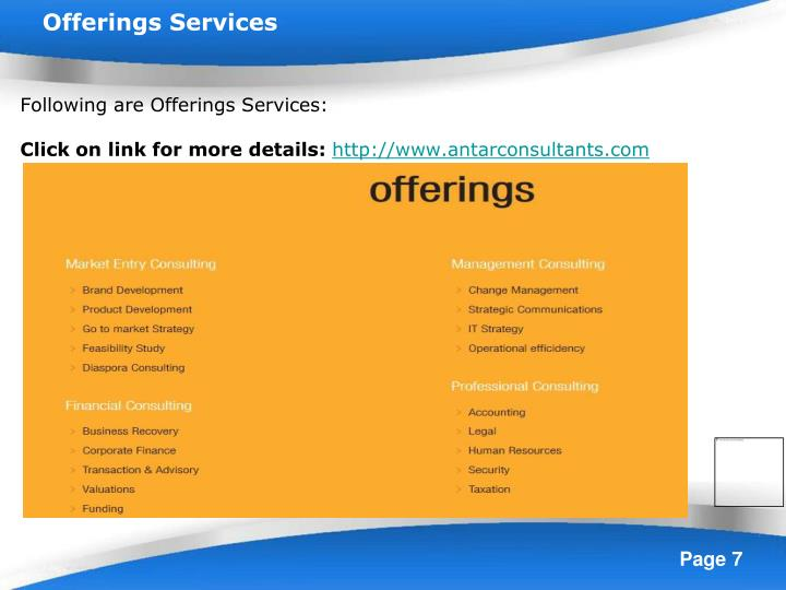 Offerings Services