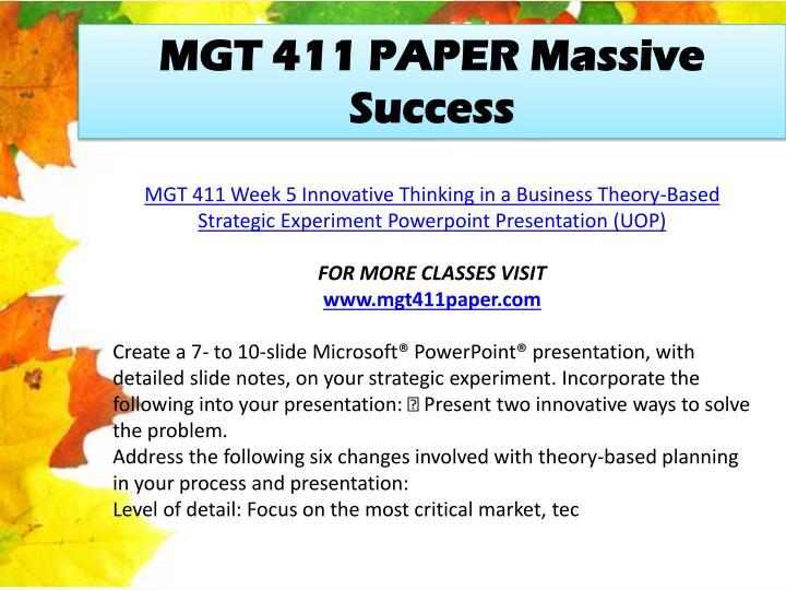 MGT 411 PAPER Massive Success