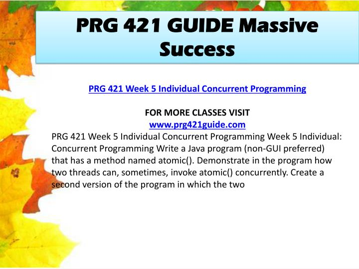 PRG 421 GUIDE Massive Success