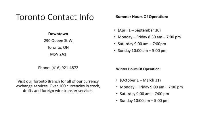 Toronto Contact Info
