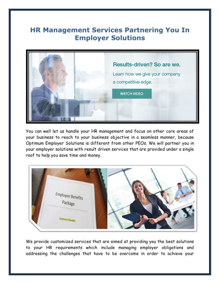 HR Management Services Partnering You In