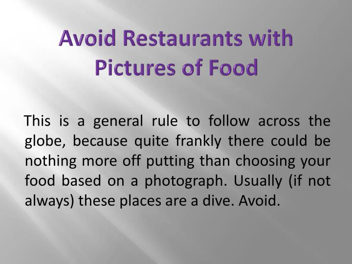 Avoid Restaurants with Pictures of Food