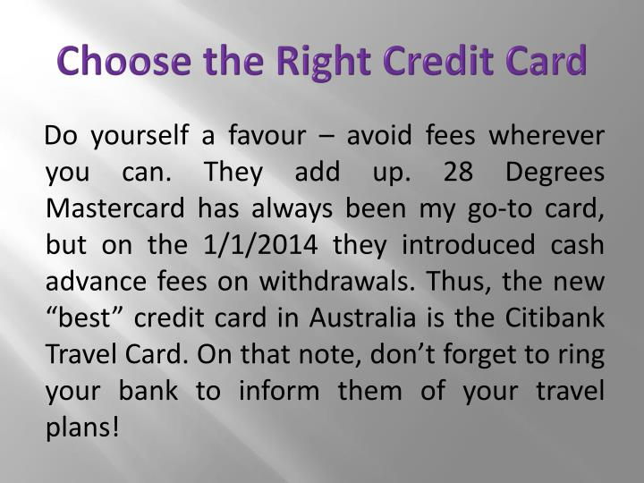 Choose the Right Credit Card