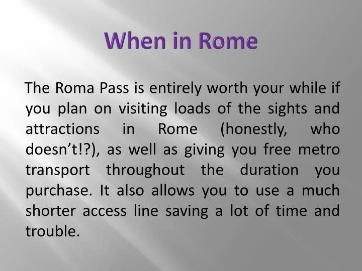 When in Rome