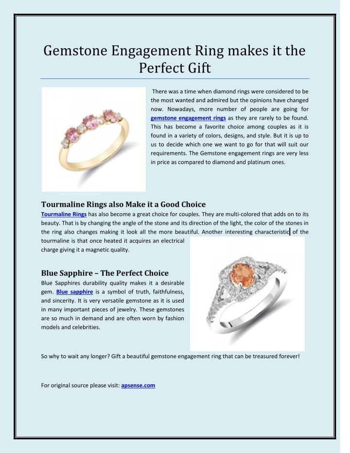 Gemstone Engagement Ring makes it the