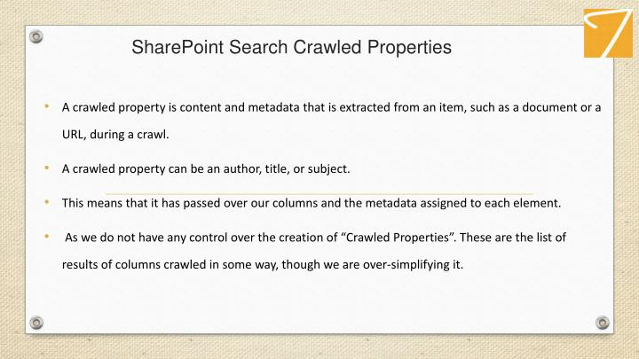 SharePoint Search Crawled Properties