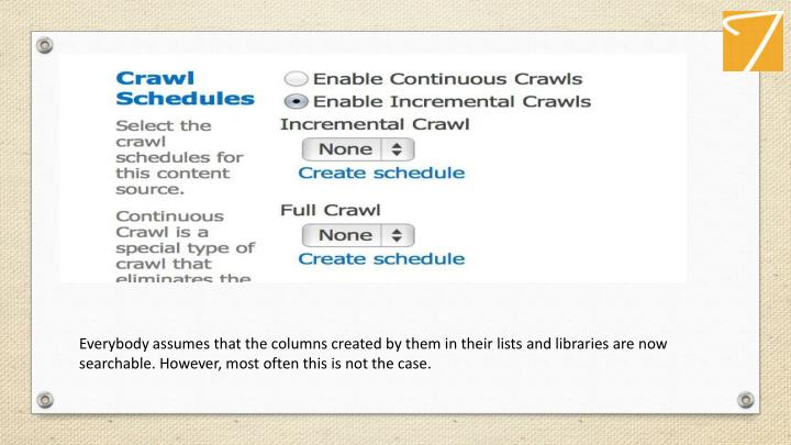 Everybody assumes that the columns created by them in their lists and libraries are now searchable. However, most often this is not the case.