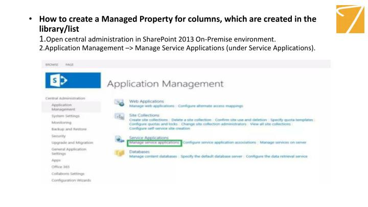 How to create a Managed Property for columns, which are created in the library/list