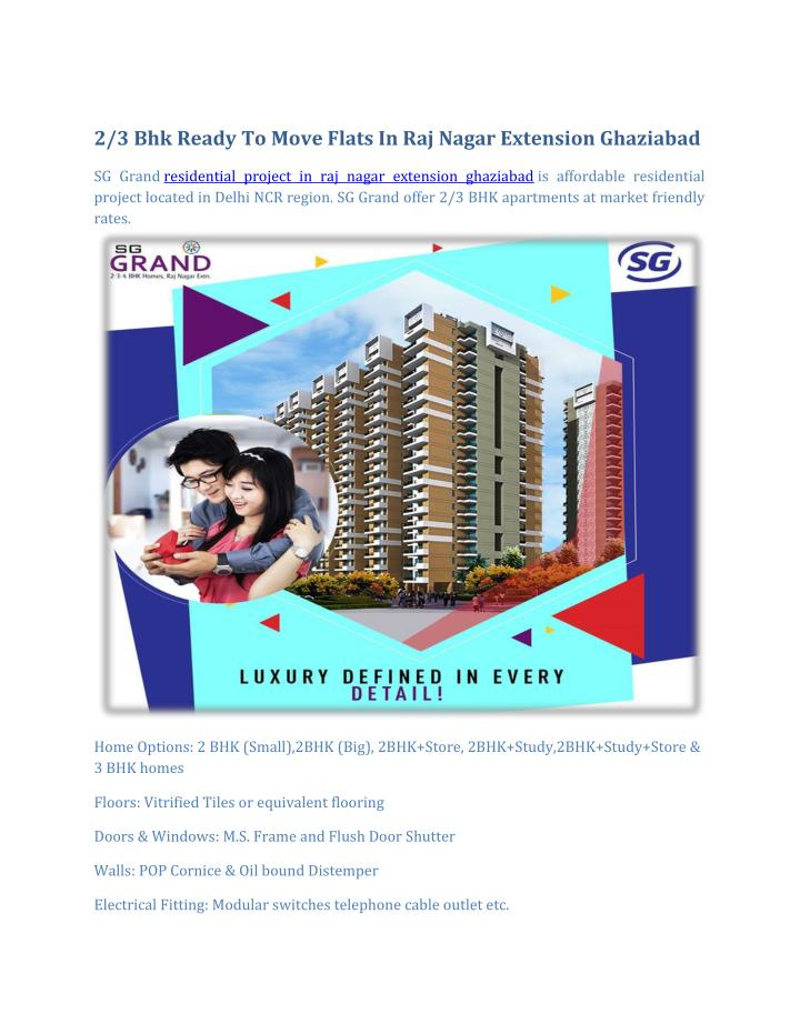 2/3 Bhk Ready To Move Flats In Raj Nagar Extension Ghaziabad