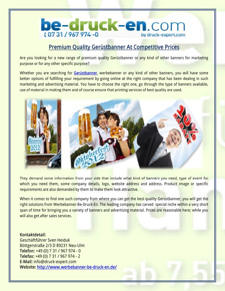 Premium Quality Gerüstbanner At Competitive Prices