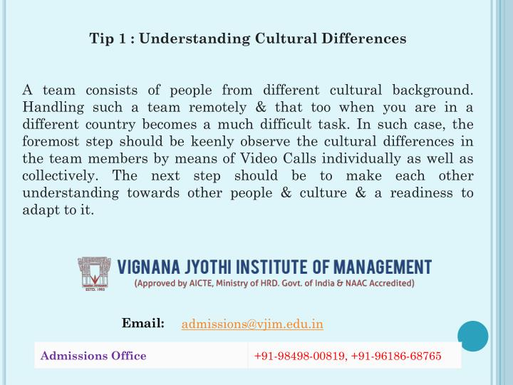 Tip 1 : Understanding Cultural Differences