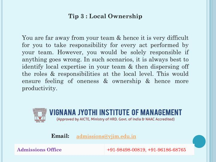 Tip 3 : Local Ownership