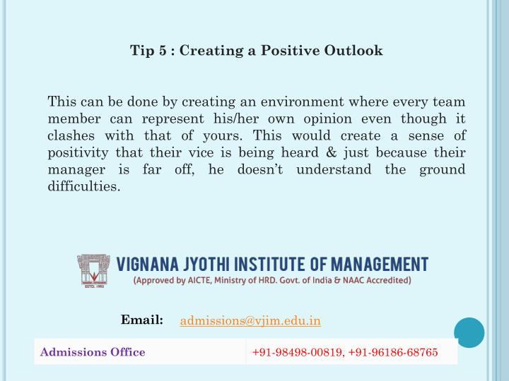 Tip 5 : Creating a Positive Outlook