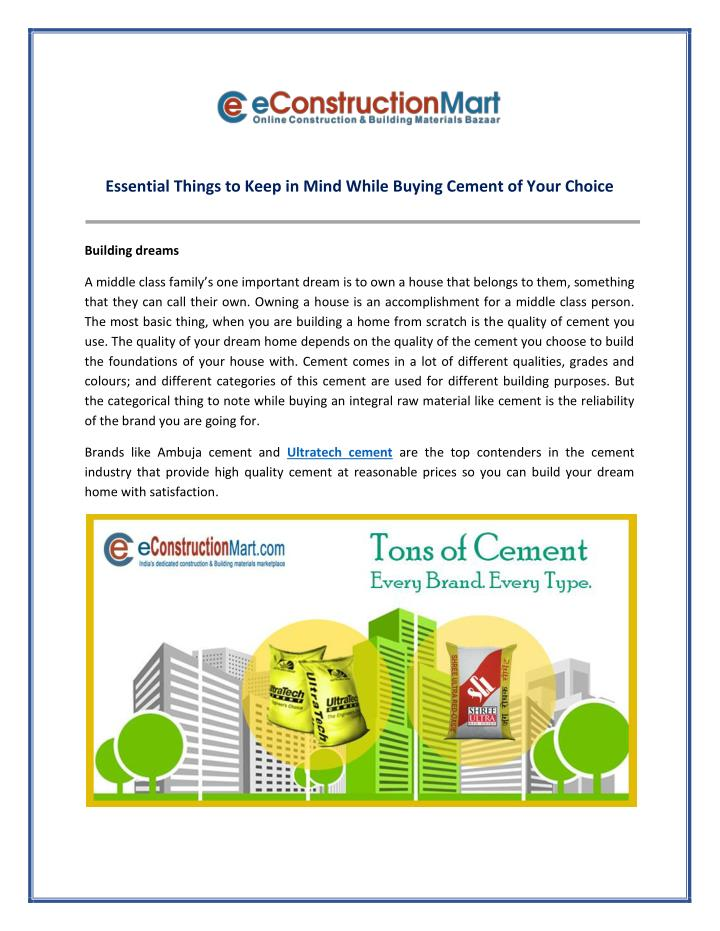 Essential Things to Keep in Mind While Buying Cement of Your Choice
