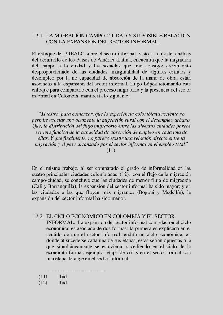 1.2.1.  LA MIGRACIÓN CAMPO-CIUDAD Y SU POSIBLE RELACION