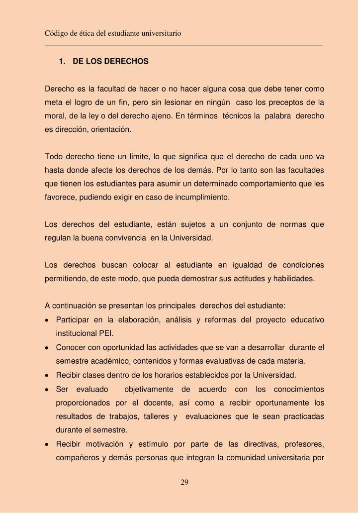 Código de ética del estudiante universitario