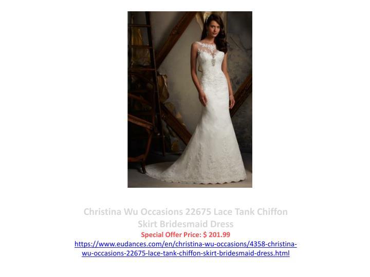 Christina Wu Occasions 22675 Lace Tank Chiffon Skirt Bridesmaid Dress