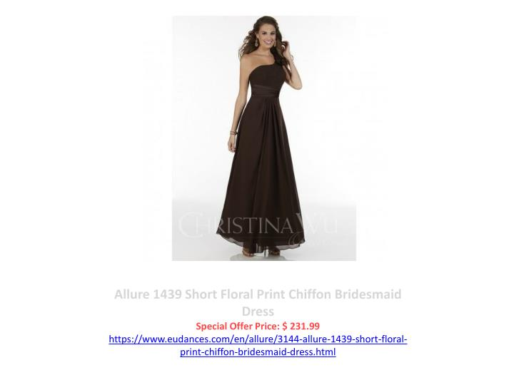 Allure 1439 Short Floral Print Chiffon Bridesmaid Dress