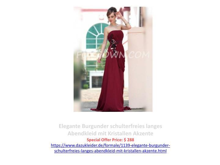 Elegante Burgunder schulterfreies langes Abendkleid mit Kristallen Akzente