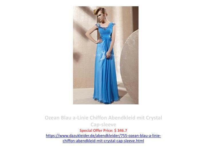 Ozean Blau a-Linie Chiffon Abendkleid mit Crystal Cap-sleeve