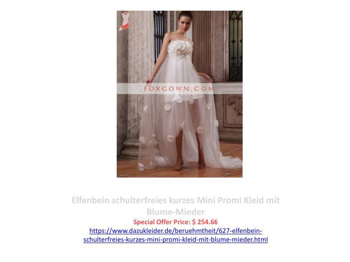 Elfenbein schulterfreies kurzes Mini Promi Kleid mit Blume-Mieder