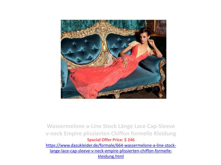 Wassermelone a-Line Stock Länge Lace Cap-Sleeve v-neck Empire plissierten Chiffon formelle Kleidung