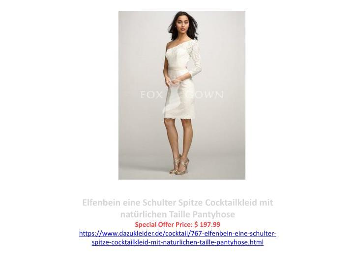 Elfenbein eine Schulter Spitze Cocktailkleid mit natürlichen Taille Pantyhose