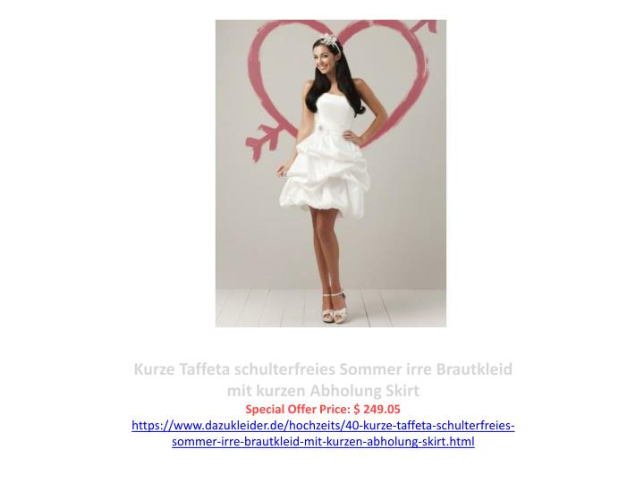 Kurze Taffeta schulterfreies Sommer irre Brautkleid mit kurzen Abholung Skirt