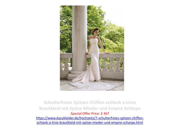 Schulterfreies Spitzen Chiffon schlank a-Linie Brautkleid mit Spitze Mieder und Empire Schärpe