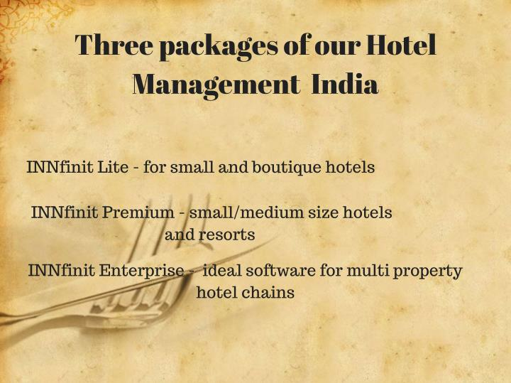 Three packages of our Hotel
