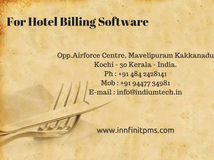 For Hotel Billing Software