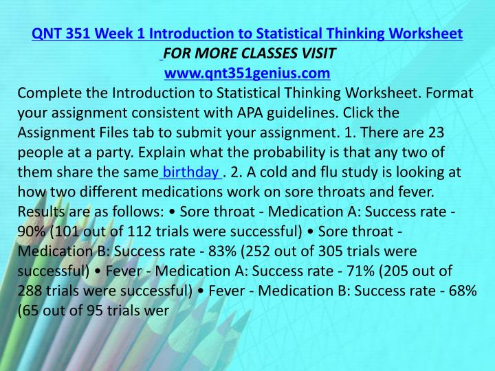 QNT 351 Week 1 Introduction to Statistical Thinking Worksheet