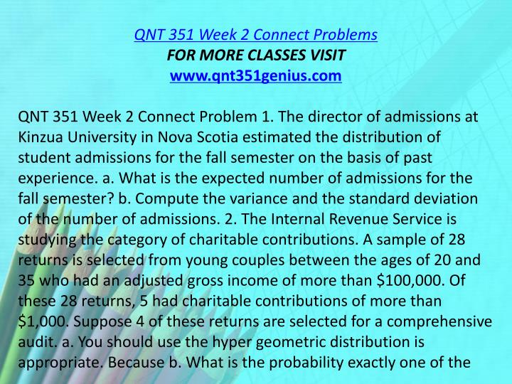 QNT 351 Week 2 Connect Problems