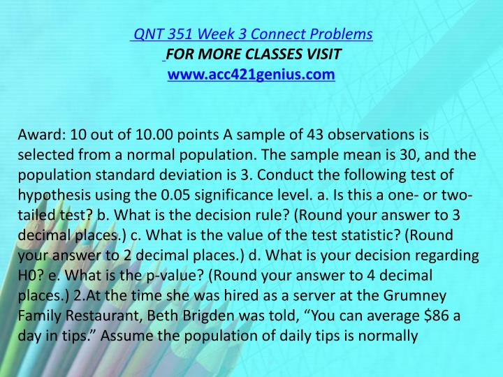 QNT 351 Week 3 Connect Problems