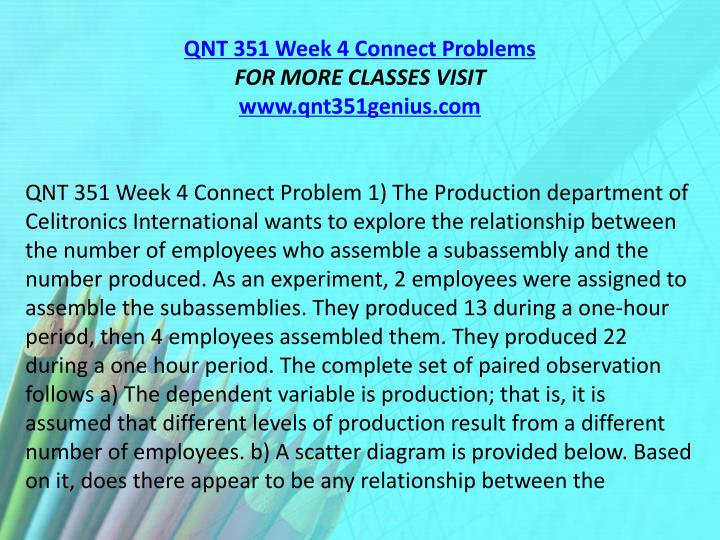 QNT 351 Week 4 Connect Problems