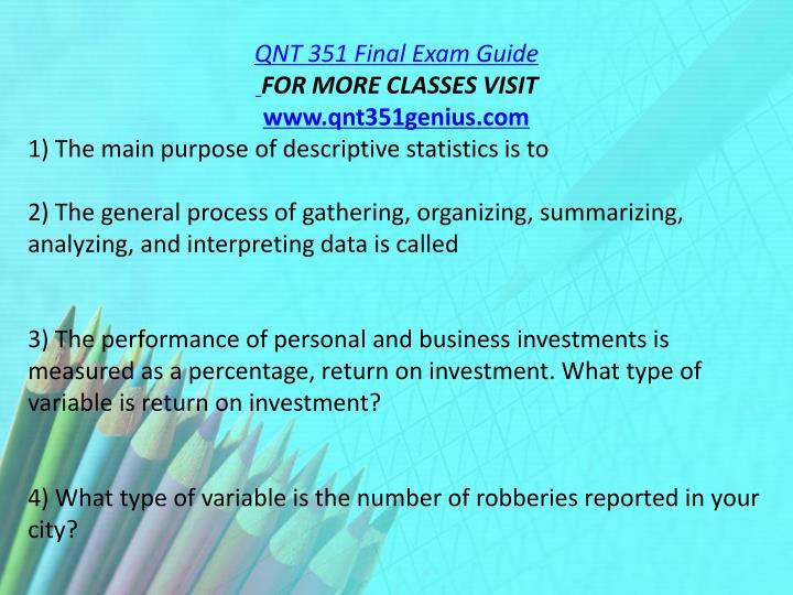 QNT 351 Final Exam Guide