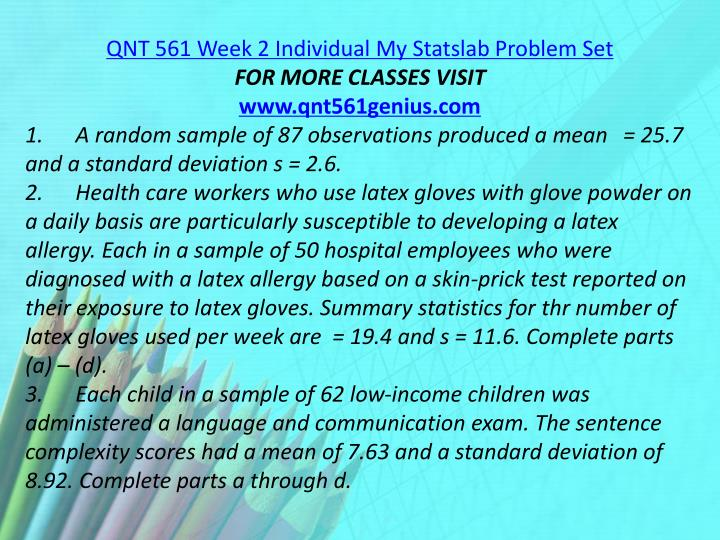 QNT 561 Week 2 Individual My