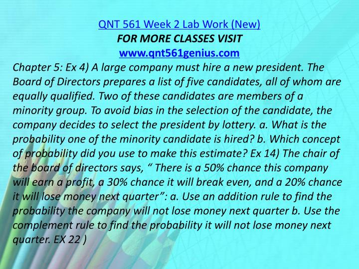 QNT 561 Week 2 Lab Work (New)