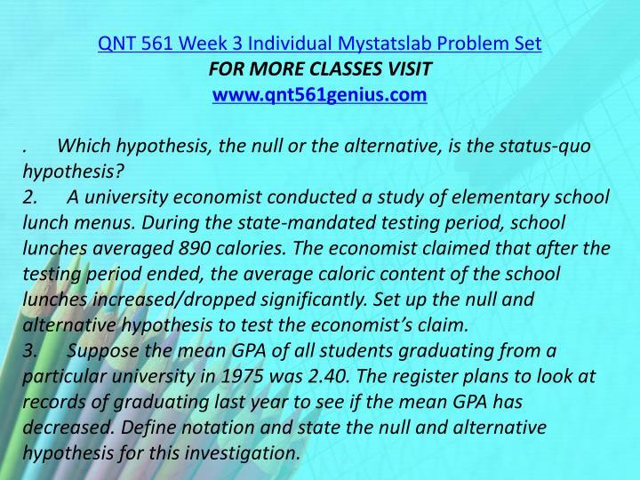 QNT 561 Week 3 Individual