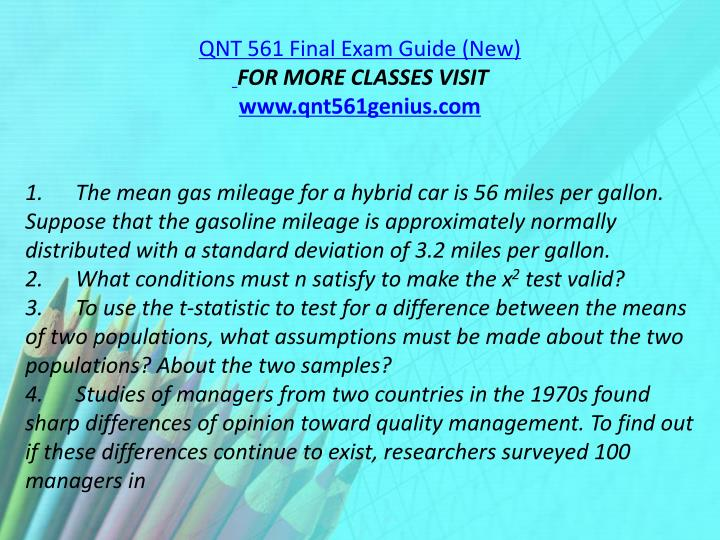 QNT 561 Final Exam Guide (New)