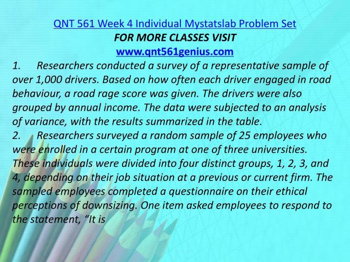 QNT 561 Week 4 Individual