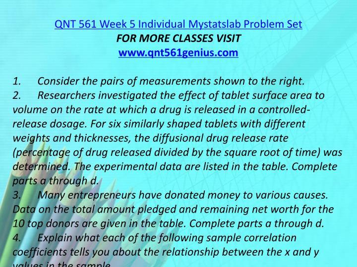 QNT 561 Week 5 Individual