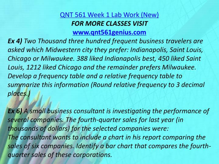 QNT 561 Week 1 Lab Work (New)