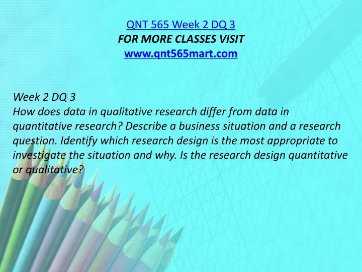 QNT 565 Week 2 DQ 3