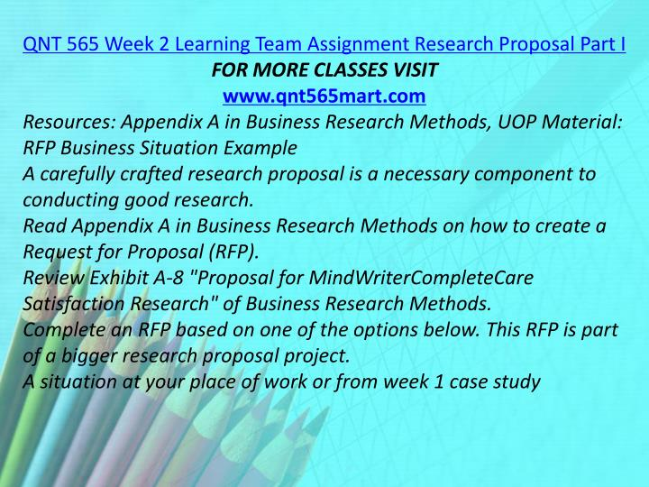 QNT 565 Week 2 Learning Team Assignment Research Proposal Part I